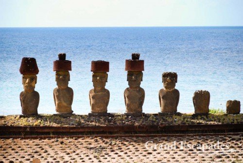 Ahu Akivi is special because its 7 Moai are the only ones that face the sea, Rapa Nui or Easter Island, Pacific