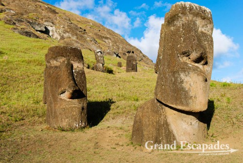 Rano Raraku, the quarry where all the Moais were carved from the volcanic stone, Rapa Nui or Easter Island, Pacific