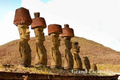 Moai, in Ahu Nau Nau, Rapa Nui or Easter Island, Pacific